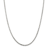 Sterling Silver Rhodium-plated 2.5mm Diamond-cut Rope Chain 28 Inch, MPN: QDC055R-28