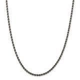 Sterling Silver Ruthenium 3mm Rope Chain 30 Inch, MPN: QFC201-30
