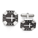 Chisel Matte Black IP-plated Cross Cufflinks - Stainless Steel SRC287