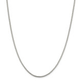 Sterling Silver 2mm Round Box Chain 22 Inch, MPN: QHX040-22