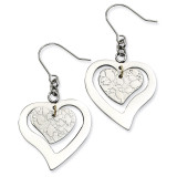 Chisel Heart Dangle Earrings - Stainless Steel SRE189