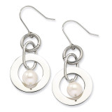 Chisel White Fresh Water Cultured Pearl Dangle Earrings - Stainless Steel SRE212