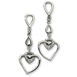 Chisel Heart with Synthetic Diamond Heart Post Dangle Earrings - Stainless Steel SRE248