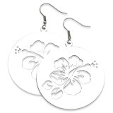 Chisel Polished Hibiscus Cutout Earrings - Stainless Steel SRE277