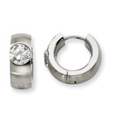 Chisel Synthetic Diamond Brushed & Polished Round Hinged Hoop Earrings - Stainless Steel SRE356