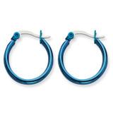 Chisel Blue IP plated 19mm Hoop Earrings - Stainless Steel SRE423