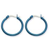 Chisel Blue IP plated 26mm Hoop Earrings - Stainless Steel SRE424