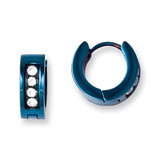 Chisel Blue IP-plated with Synthetic Diamond Hinged Hoop Earrings - Stainless Steel SRE674