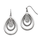 Chisel Polished Antiqued Synthetic Diamond Shepherd Hook Earrings - Stainless Steel SRE741