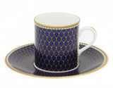 Halcyon Days GC Antler Trellis Midnight Coffee Cup & Saucer, MPN: BCGAT11CSG EAN: 5060171100928