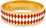 Halcyon Days 19mm Parterre Red Cream Gold Hinged Bangle, MPN: HBPAR060519G EAN: 5060171106142