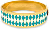 Halcyon Days 19mm Parterre Turquoise Cream Gold Hinged Bangle, MPN: HBPAR140519G EAN: 5060171106173