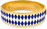Halcyon Days 19mm Parterre Deep Cobalt Cream Gold Hinged Bangle, MPN: HBPAR180519G EAN: 5060171106180