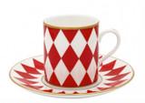 Halcyon Days Parterre Red Coffee Cup & Saucer, MPN: BCPAR06CSG EAN: 5060171103820