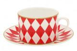 Halcyon Days Parterre Red Tea cup & Saucer , MPN: BCPAR06TSG EAN: