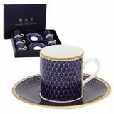 Halcyon Days GC Antler Trellis Midnight Coffee Cup & Saucer Set of 6, MPN: BCGAT11C6G