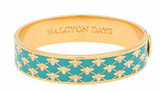 Halcyon Days 13mm Bee Sparkle Trellis Turquoise Gold Hinged Bangle, MPN: HBBES1413G