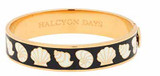 Halcyon Days 13mm Shells Black-Cream-Gold Hinged Bangle, MPN: HBSHS0213G