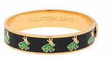 Halcyon Days 13mm Frog Prince Sparkle Navy-Green-Gold Hinged Bangle, MPN: HBFRP110913G