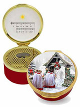 Halcyon Days Christmas Morning Musical Enamel Box plays O Come all ye faithful, MPN: ENCHM0633MG