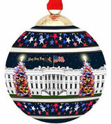 Halcyon Days White House at Christmas Bauble Ornament, MPN: BCWHC11XBN