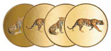 Halcyon Days MW Twin Leopard & Tiger Gold Coaster Set of 4, MPN: BCMLT16CSG