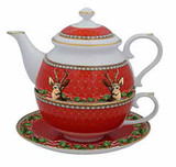 Halcyon Days GC Antler Trellis & Stag Red Tea for One, MPN: BCGAS06TOG