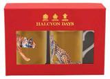 Halcyon Days MW Tiger & Leopard Gold Mug Set, MPN: BCMLT16MSG