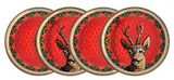 Halcyon Days GC Antler Trellis & Stag Red Coaster Set of 4, MPN: BCGAS06CSG