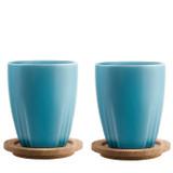 Kosta Boda Bruk Mug With Oak Lid Sea Turquoise Pair, MPN: 7091717, EAN: 7321646038756