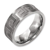 Chisel Greek Key 8mm Satin & Polished Band - Titanium TB343