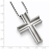 Polished Cross Necklace - Titanium TBN154