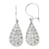 Diamond-cut Dangle Earrings - 14k White Gold 144A by Leslie's Jewelry
