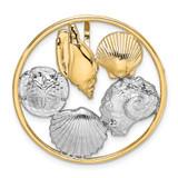 Shell Cluster In Round Frame Slide 14k Gold Rhodium, MPN: SL634, UPC: 637218143191