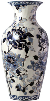 Gien Pivoines Bleues Fluted Vase # 2, MPN: 1665CPO231, EAN: 0840769044217