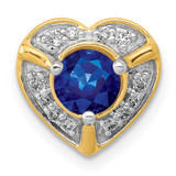 .50 Sapphire Fancy Heart Chain Slide 14k Gold Diamond MPN: PM3921-SA-011-YA UPC: