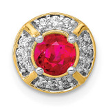 .33 Ruby Fancy Round Chain Slide 14k Gold Diamond MPN: PM3922-RU-010-YA UPC: