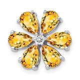 Citrine 6 Petal Flower Chain Slide 14k White Gold Diamond MPN: PM4377-006-WA UPC: