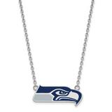NFL Seattle Seahawks Enamel Pendant Necklace Sterling Silver Rhodium-plated SS013SEA-18