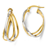 Polished Twist Hoop Earrings - 14k Gold Two-tone LE312 by Leslie's Jewelry