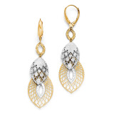 Polished and Diamond-cut Leverback Earrings - 14k Gold Two-tone LE708 by Leslie's Jewelry