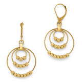 Diamond-Cut Round Beaded Leverback Earrings - 14k Gold LE837 by Leslie's Jewelry