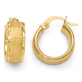 Polished Diamond-cut Brushed Small Hoop Earrings - 14k Gold LE865 by Leslie's Jewelry