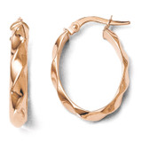 Polished and Twisted Oval Hoop Earrings - 14k Rose Gold LE891 by Leslie's Jewelry
