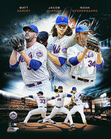 2015 New York Mets Pitchers Matt Harvey Jacob deGrom & Noah Syndergaard Portrait Plus Framed Print with Glazing AASL025-FG
