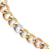 Tri-color Polished Link Bracelet 8 Inch - 14k Gold LF347-8 by Leslie's Jewelry