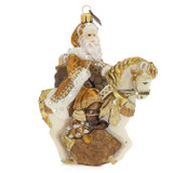Jay Strongwater Santa On Horse Glass Ornament, MPN: SDH2279-232, UPC: 848510024648