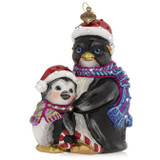 Jay Strongwater Father And Child Penguin Glass Ornament, MPN: SDH2340-250, UPC: 848510039277