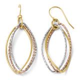 Tri-color Shepherd Hook Dangle Earrings - 10k Gold TC01 by Leslie's Jewelry