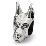 Doberman Pinscher Head Bead - Sterling Silver QRS1274
